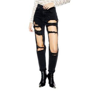 Topshop Moto Window Ripped Mom Jeans W25
